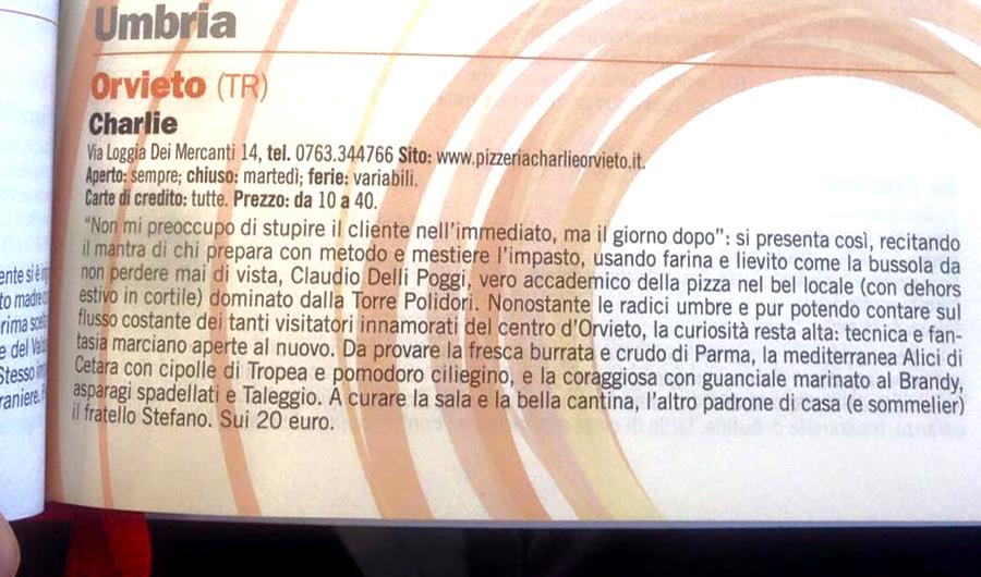 Charlie inserito nelle migliorio pizzeria italia 2016 guida espresso